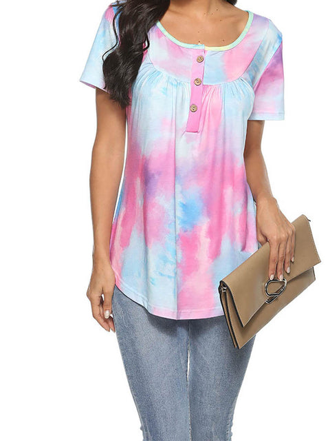 Color=Purple | V-Neck Button Gradient Tie-Dye Loose Short Sleeve Top T-Shirt-Purple 2