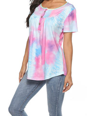 Color=Purple | V-Neck Button Gradient Tie-Dye Loose Short Sleeve Top T-Shirt-Purple 3