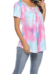 Color=Purple | V-Neck Button Gradient Tie-Dye Loose Short Sleeve Top T-Shirt-Purple 4