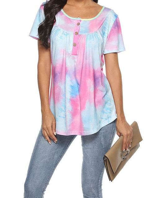 Color=Purple | V-Neck Button Gradient Tie-Dye Loose Short Sleeve Top T-Shirt-Purple 1