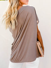 Color=Coffee | Women'S Elegant One Shoulder Shirt With Half Sleeves-Coffee 2