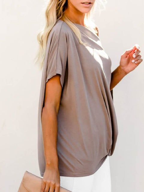 Color=Coffee | Women'S Elegant One Shoulder Shirt With Half Sleeves-Coffee 3