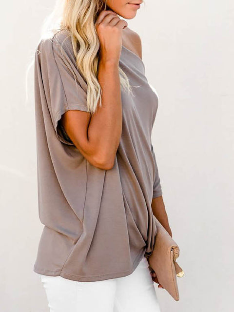 Color=Coffee | Women'S Elegant One Shoulder Shirt With Half Sleeves-Coffee 4