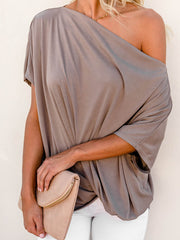 Color=Coffee | Women'S Elegant One Shoulder Shirt With Half Sleeves-Coffee 1