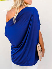 Color=Sapphire Blue | Women'S Elegant One Shoulder Shirt With Half Sleeves-Sapphire Blue 2