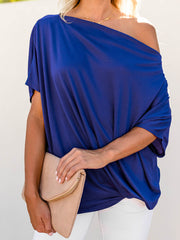 Color=Sapphire Blue | Women'S Elegant One Shoulder Shirt With Half Sleeves-Sapphire Blue 1