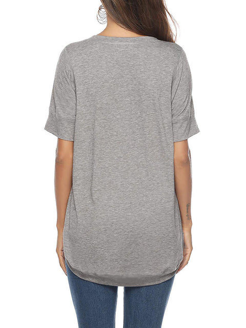 Color=Grey | Women'S Summer Simple Short-Sleeved T-Shirt-Grey 2