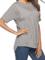 Color=Grey | Women'S Summer Simple Short-Sleeved T-Shirt-Grey 3