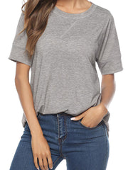 Color=Grey | Women'S Summer Simple Short-Sleeved T-Shirt-Grey 4