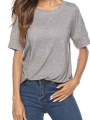 Color=Grey | Women'S Summer Simple Short-Sleeved T-Shirt-Grey 5