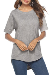 Color=Grey | Women'S Summer Simple Short-Sleeved T-Shirt-Grey 1