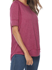 Color=Hot Pink | Women'S Summer Simple Short-Sleeved T-Shirt-Hot Pink 3