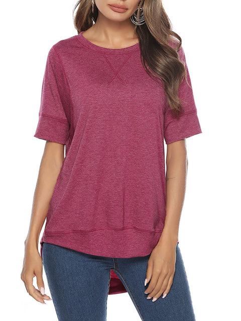 Color=Hot Pink | Women'S Summer Simple Short-Sleeved T-Shirt-Hot Pink 1