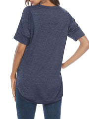 Color=Navy Blue | Women'S Summer Simple Short-Sleeved T-Shirt-Navy Blue 2