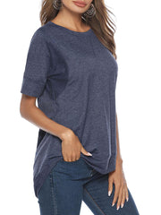 Color=Navy Blue | Women'S Summer Simple Short-Sleeved T-Shirt-Navy Blue 3