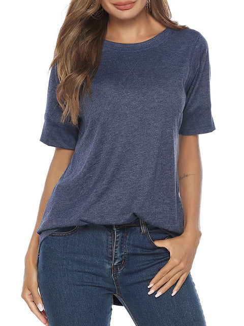 Color=Navy Blue | Women'S Summer Simple Short-Sleeved T-Shirt-Navy Blue 4