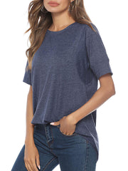 Color=Navy Blue | Women'S Summer Simple Short-Sleeved T-Shirt-Navy Blue 5
