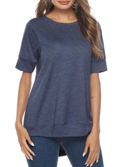 Color=Navy Blue | Women'S Summer Simple Short-Sleeved T-Shirt-Navy Blue 1