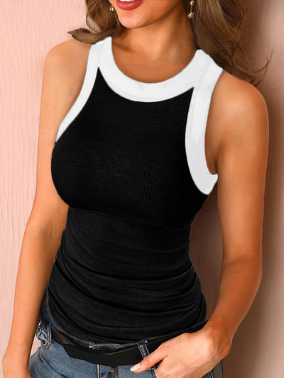 Color=Black | Women'S Fashion Stylish Summer Tank Top With Black Borders-Black 1