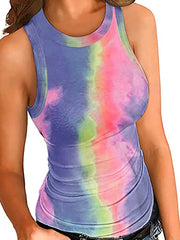 Color=Multicolor | Casual Tie-Dye Tank Top For Women With Round Neckline-Multicolor 1