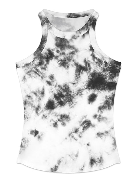 Color=Black & White | Fashion Street-Style Printed Tank Top For Women-Black & White 1