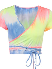 Sexy Tie-dye Lace-Up V Neck Short Sleeve Crop Top