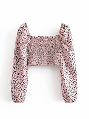 Color=Pink | Sweet Square Collar Bow Elasticated Crop Top-Pink 2