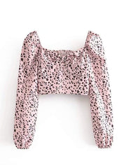 Color=Pink | Sweet Square Collar Bow Elasticated Crop Top-Pink 1