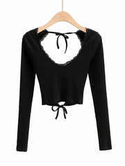 Color=Black | Long Sleeves Deep V Neck Backless Crop Top For Women-Black 1