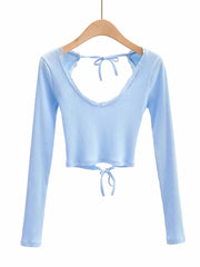 Color=Sky Blue | Long Sleeves Deep V Neck Backless Crop Top For Women-Sky Blue 1