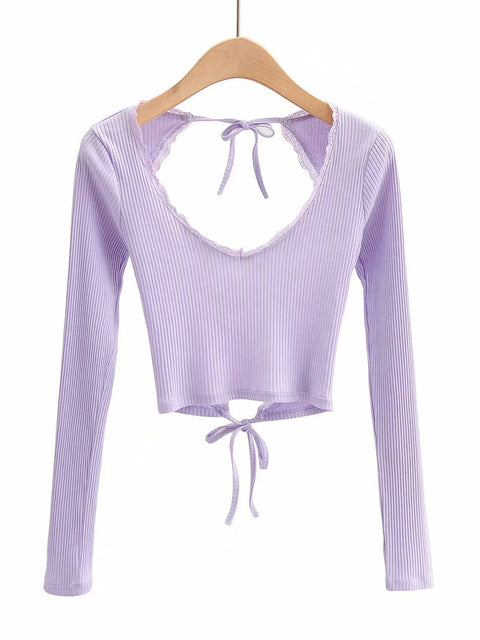 Color=Purple | Long Sleeves Deep V Neck Backless Crop Top For Women-Purple 1