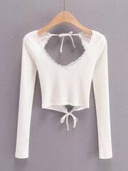 Color=White | Long Sleeves Deep V Neck Backless Crop Top For Women-White 4