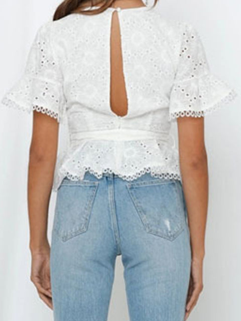 Color=White | Women'S Elegant Embroidered Lace Up Flared Sleeve Blouse-White 2