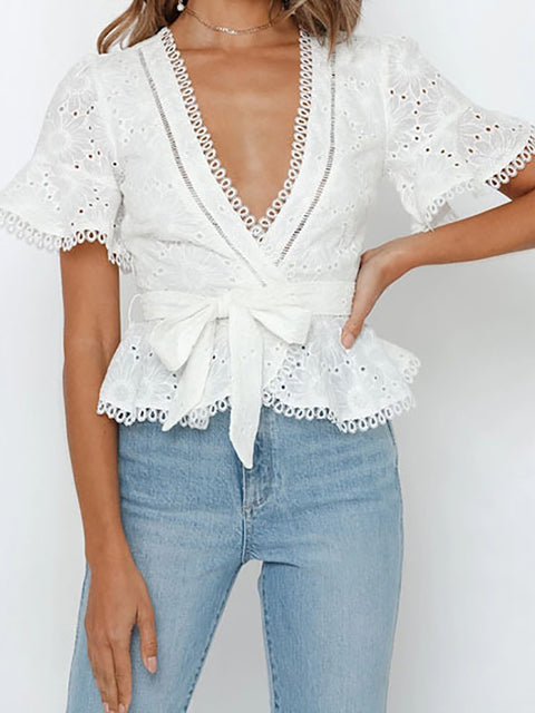Color=White | Women'S Elegant Embroidered Lace Up Flared Sleeve Blouse-White 4