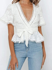 Color=White | Women'S Elegant Embroidered Lace Up Flared Sleeve Blouse-White 1
