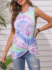 Color=Purple | Round Neck Tie-Dye Knotted Print Vest T-Shirt-Purple 3