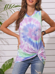 Color=Purple | Round Neck Tie-Dye Knotted Print Vest T-Shirt-Purple 1