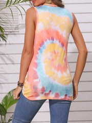 Color=Yellow | Round Neck Tie-Dye Knotted Print Vest T-Shirt-Yellow 2