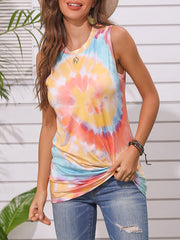 Color=Yellow | Round Neck Tie-Dye Knotted Print Vest T-Shirt-Yellow 4