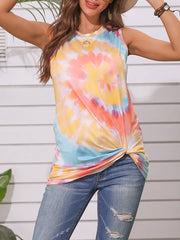 Color=Yellow | Round Neck Tie-Dye Knotted Print Vest T-Shirt-Yellow 1