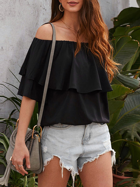 Color=Black | Blouse Ruffled Middle Sleeve Loose Short Sleeve Top Women-Black 1