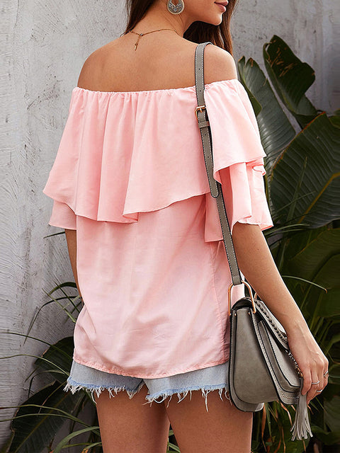 Color=Pink | Blouse Ruffled Middle Sleeve Loose Short Sleeve Top Women-Pink 2