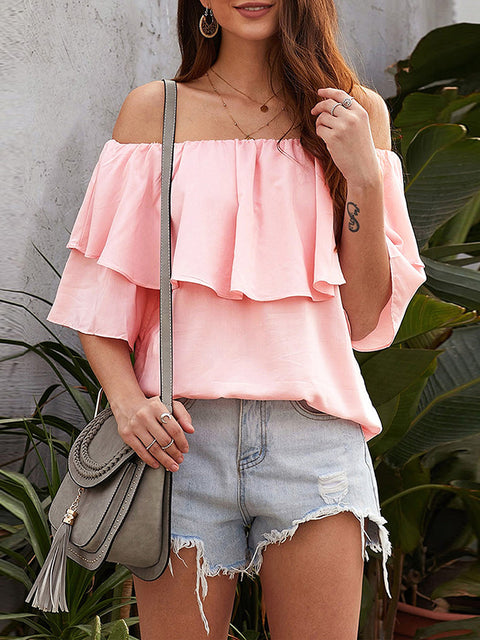 Color=Pink | Blouse Ruffled Middle Sleeve Loose Short Sleeve Top Women-Pink 1