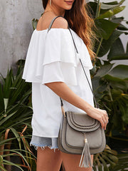 Color=White | Blouse Ruffled Middle Sleeve Loose Short Sleeve Top Women-White 2