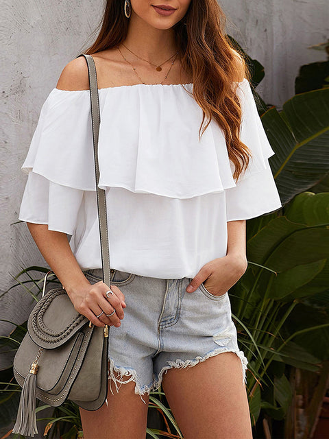 Color=White | Blouse Ruffled Middle Sleeve Loose Short Sleeve Top Women-White 1