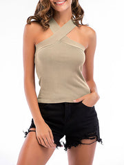 Sexy Cross Neck Knitted Sleeveless Summer Top for Women