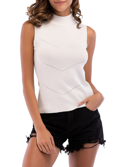 Simple Round Neck Sleeveless Knitted Summer Shirt Top