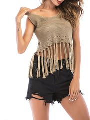 Feminine V Neck Sleeveless Knitted Crop Top with Tassels