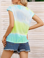 Color=Green | Tie-Dye Gradient Printed Crew Neck Sleeveless Vest T-Shirt Top-Green 2