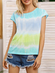 Color=Green | Tie-Dye Gradient Printed Crew Neck Sleeveless Vest T-Shirt Top-Green 4
